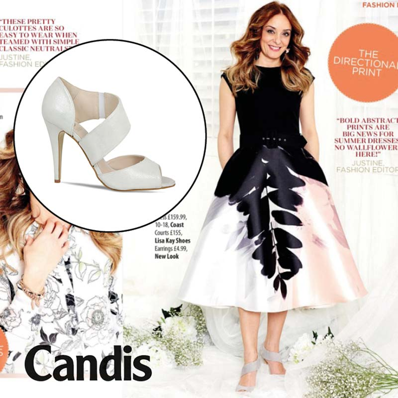Candis Magazine featuring comfortable silver  high heels Lisa Kay London