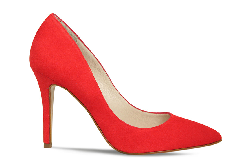 Comfortable red suede designer court heels
