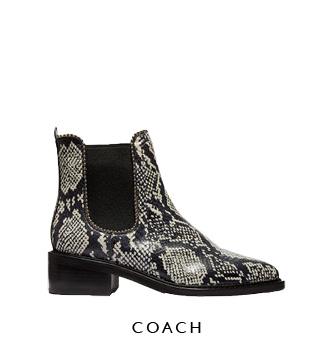 Coach Studded Snakeskin Ankle Boots
