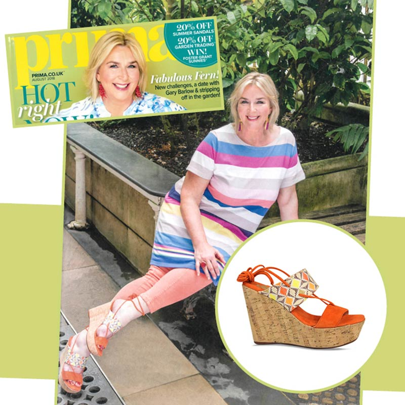 Prima magazine covers comfortable designer wedge heels by Lisa Kay London