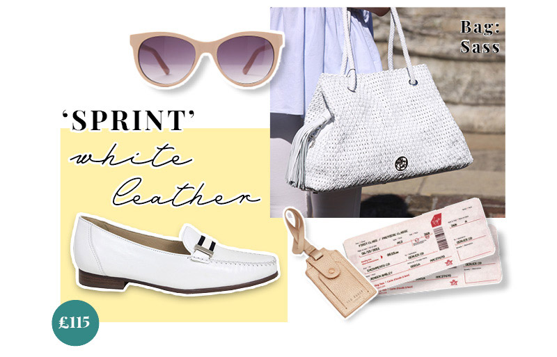 Lisa Kay Sprint White Leather Loafers and White Sass Handbag