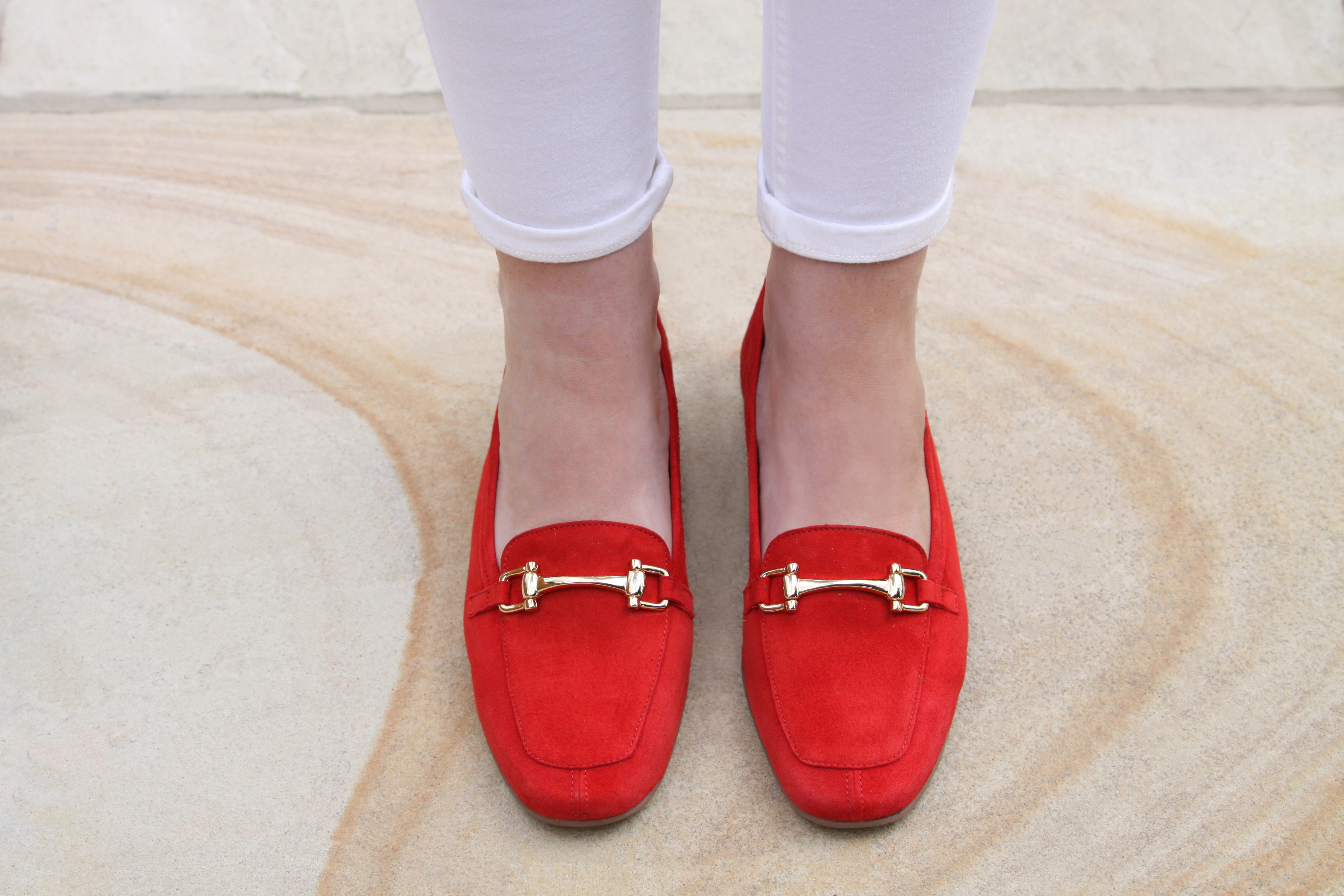 Comfortable and stylish red suede loafers by Lisa Kay