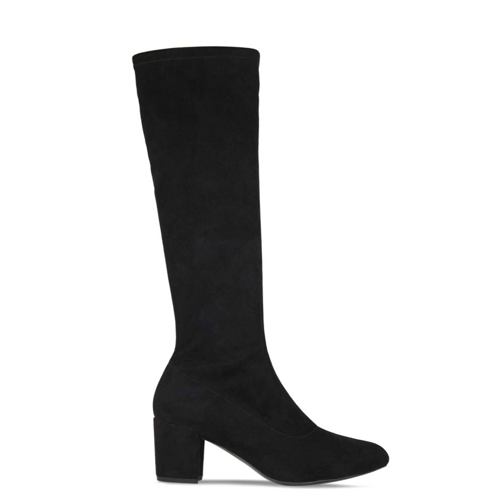 Comfortable black suede knee high boots by British designer Lisa Kay