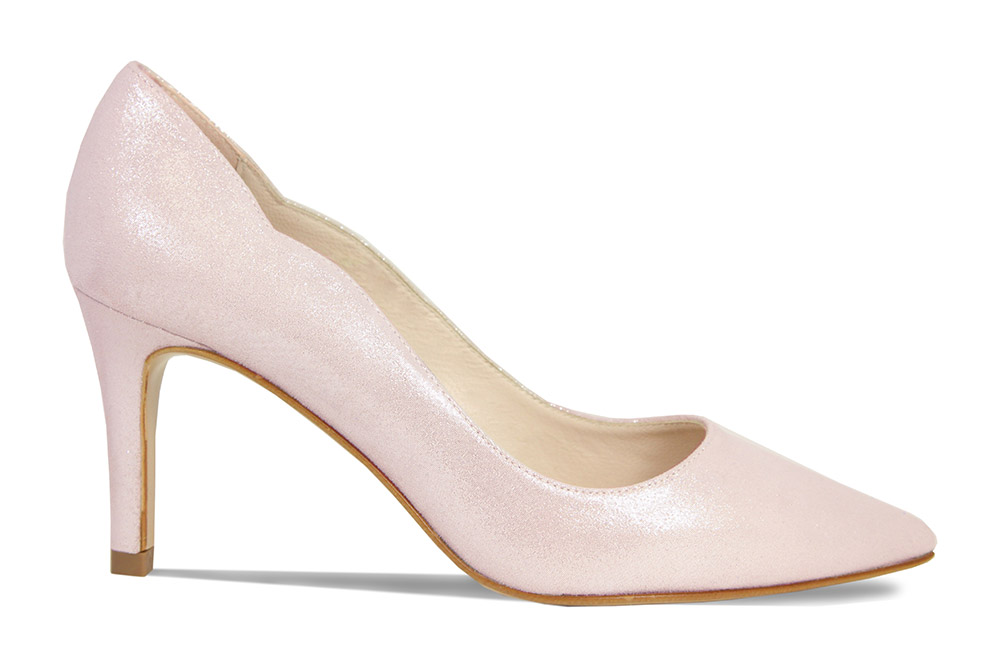 Elegant and comfortable pink shimmer court heels by Lisa Kay London