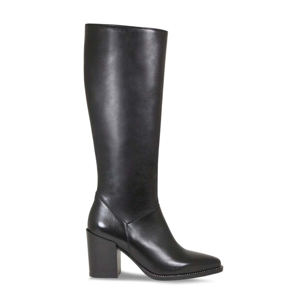Premium black leather knee high boots by Lisa Kay London