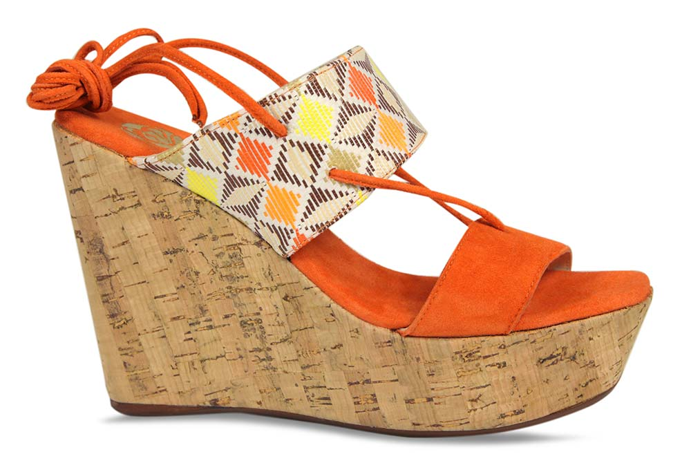 Orange suede wedge heel by Lisa Kay London