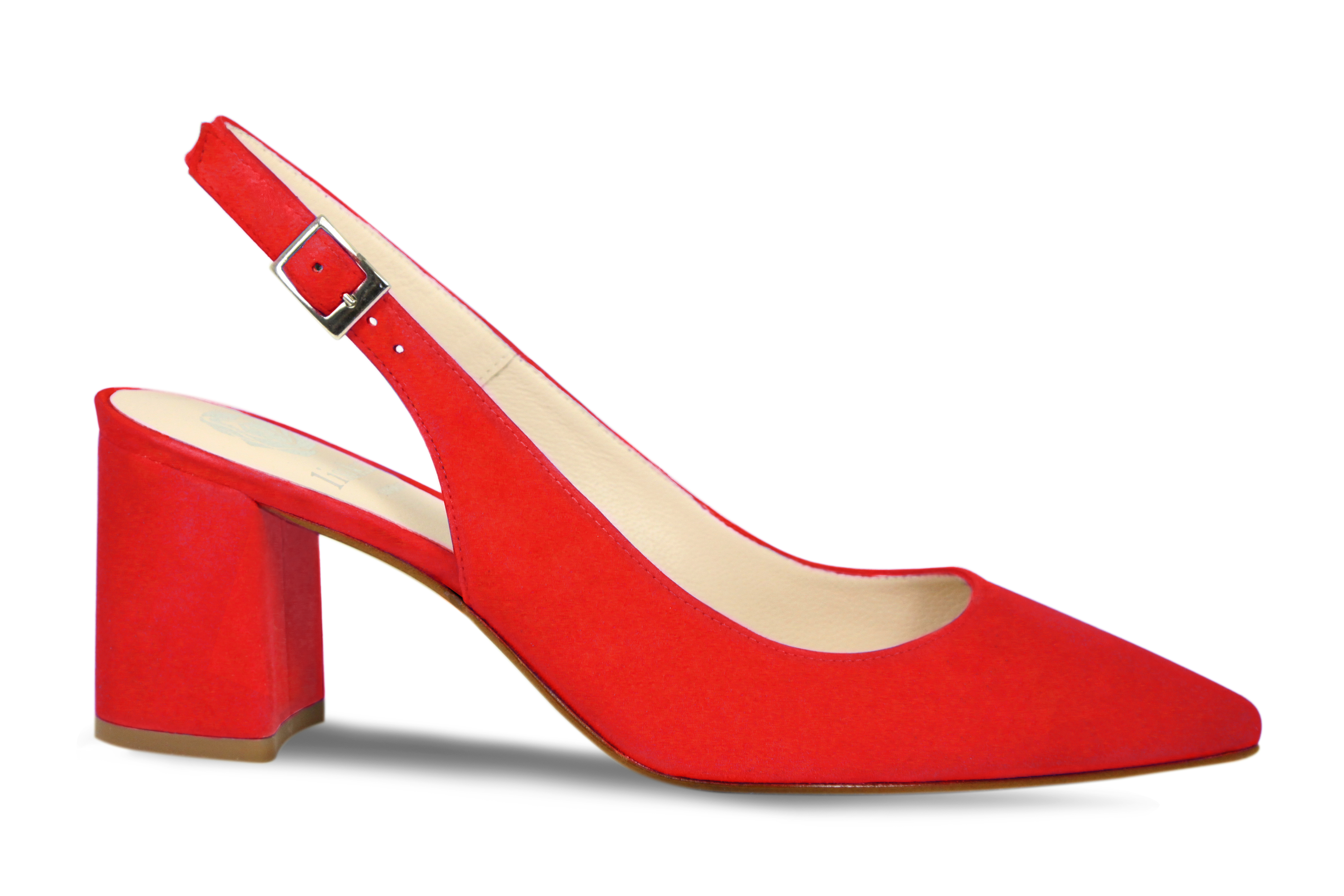 Red suede comfort slingback heels by Lisa Kay London