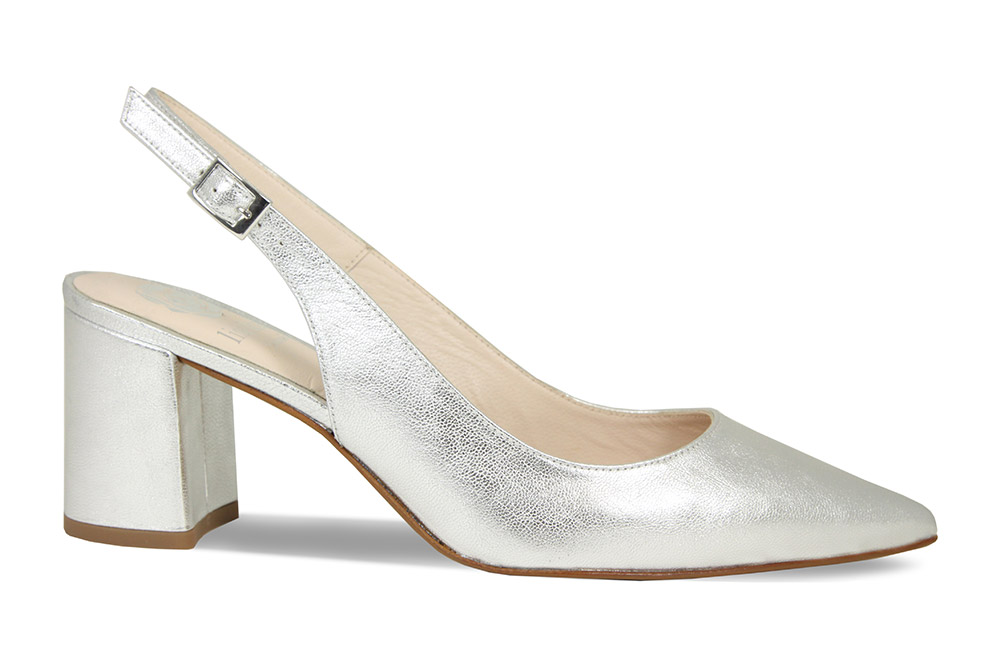 Comfortable slingback block heel for occasions by British shoe designer Lisa Kay