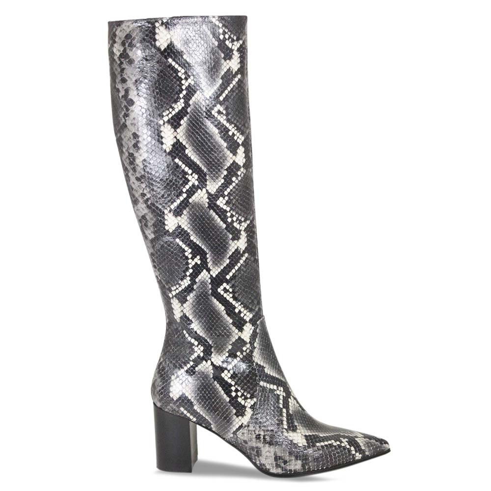 Fashionable snake print designer boots by Lisa Kay London