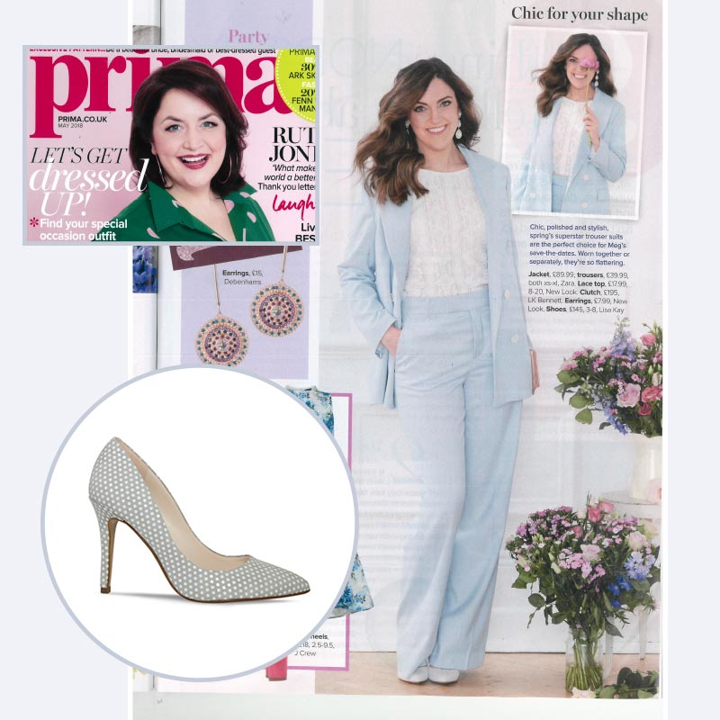 Prima Magazine featuring British shoe designer, Lisa Kay's high heels