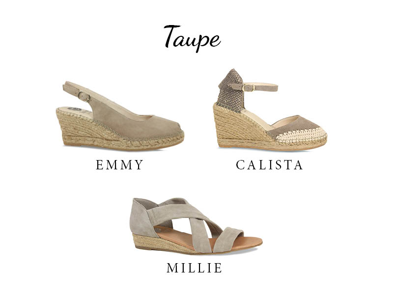 Espadrille taupe suede wedge sandal
