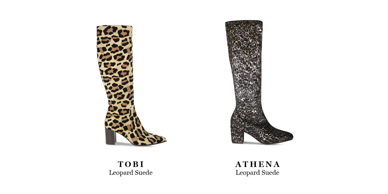 Sassy leopard print knee high boots by British shoe designer Lisa Kay.